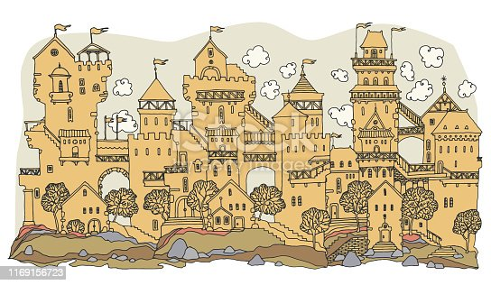Old Fairytale Castle with towers hand-drawn, vector illustration