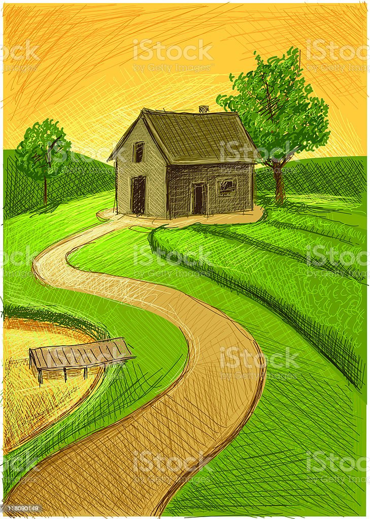 old farm and nature royalty-free stock vector art