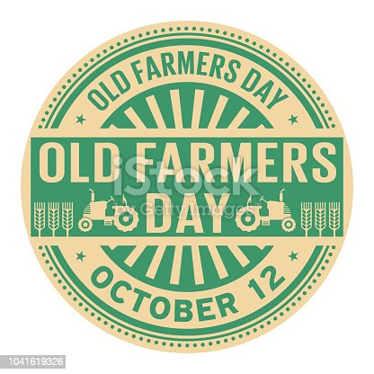Old Farmers Day, October 12, rubber stamp, vector Illustration