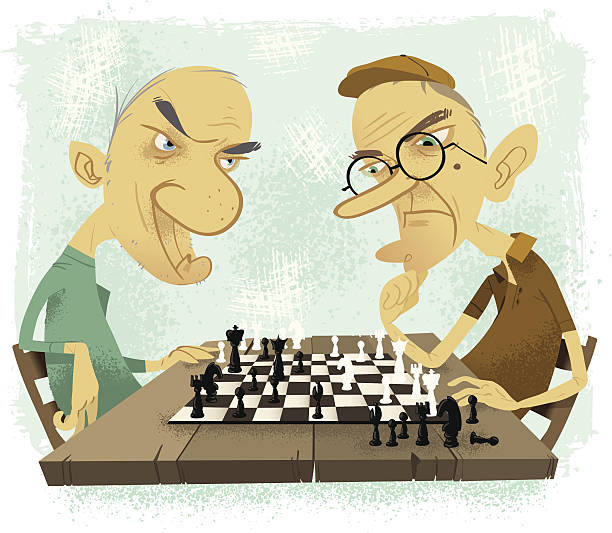 old farts playing chess - old man playing chess cartoon stock illustrations, clip art, cartoons, & icons