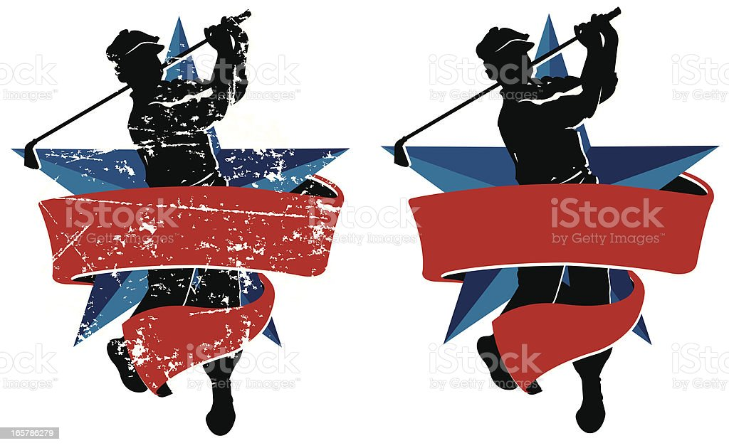 Retro style illustration of a golfer teeing off with a banner and...