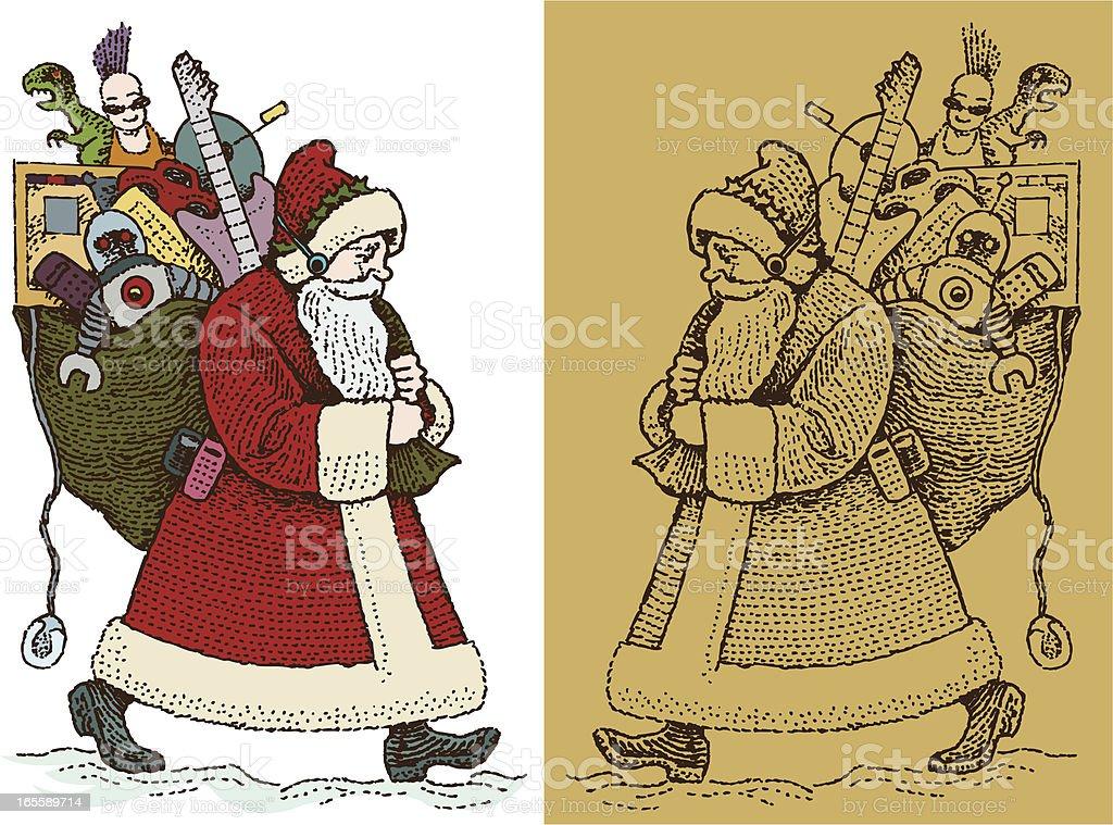 Old Fashion Santa Claus Carrying Presents royalty-free stock vector art