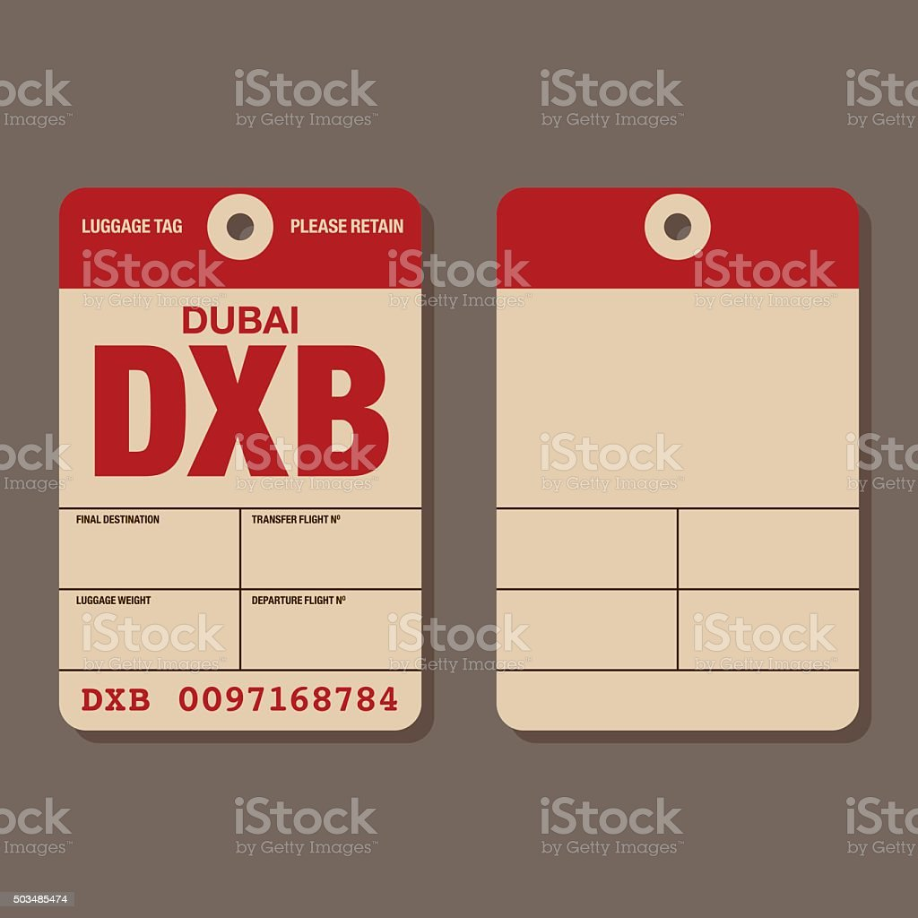 Old Fashioned Airport Luggage Tag Template vector art illustration