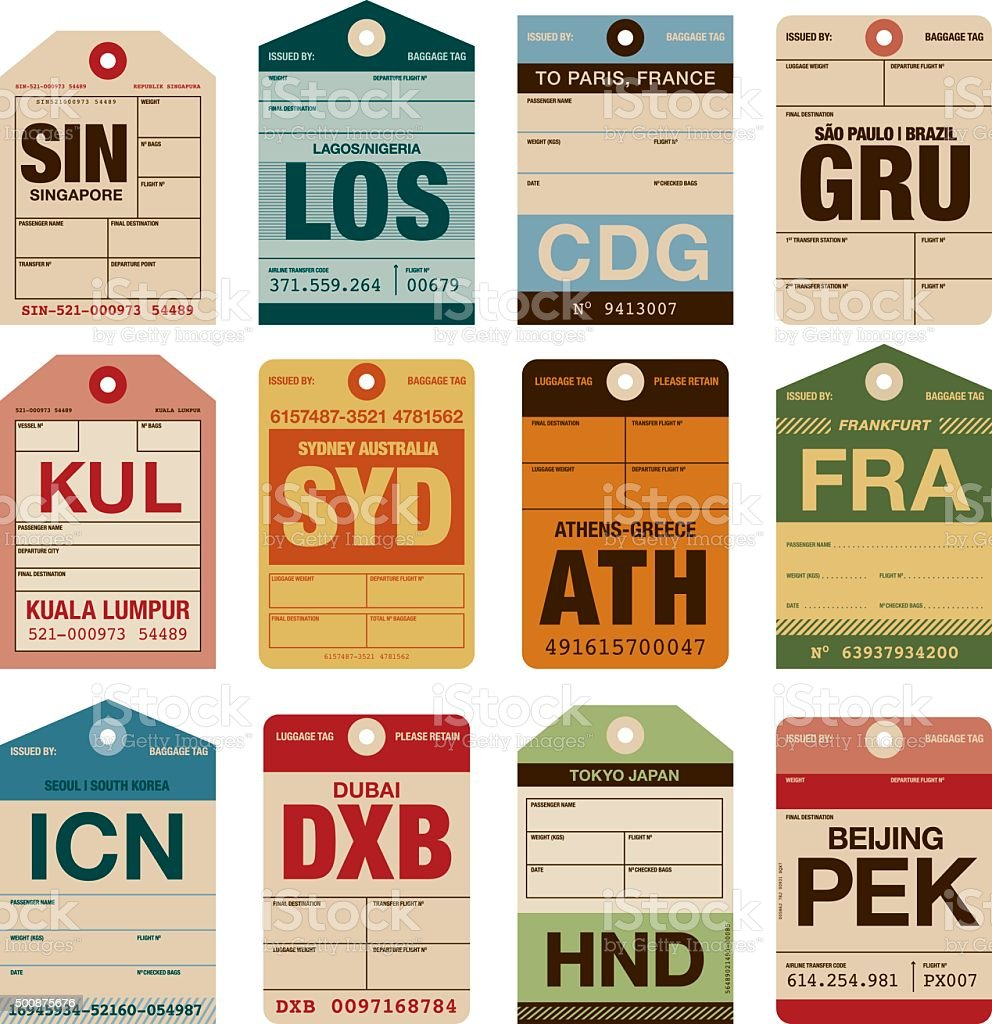 Old Fashioned Airport Luggage Tags Icon Set Stock Vector