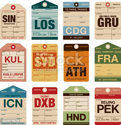 A set of various simple luggage tag icons from a wide variety of airports. Isolated on white. Download includes an AI10 EPS file as well as a high resolution RGB JPEG.