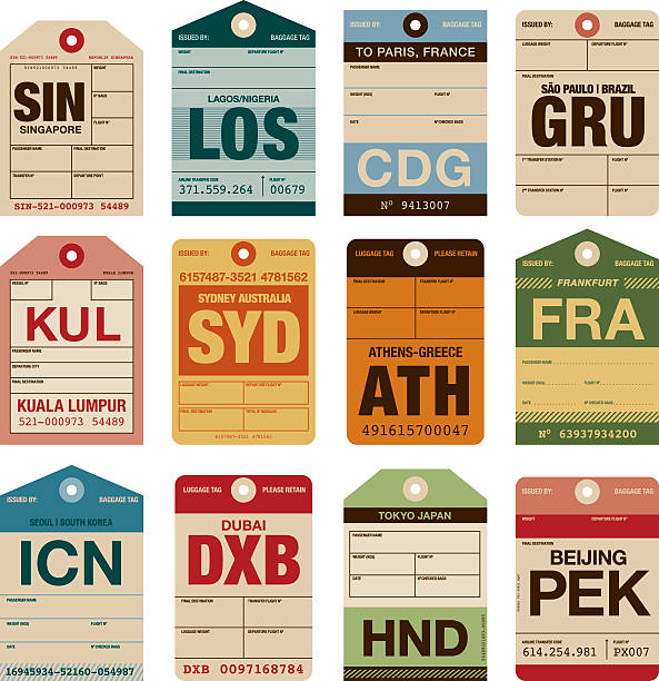 Old Fashioned Airport Luggage Tags Icon Set A set of various simple luggage tag icons from a wide variety of airports. Isolated on white. Download includes an AI10 EPS file as well as a high resolution RGB JPEG. airport clipart stock illustrations