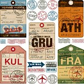 Old Fashioned Airport Luggage Tags Icon Set