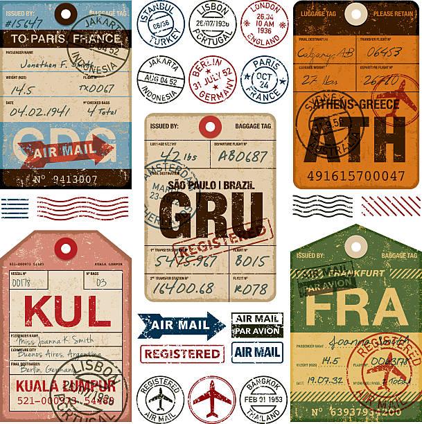 ilustraciones, imágenes clip art, dibujos animados e iconos de stock de old fashioned aeropuerto de etiquetas conjunto de icono de equipaje - viaje a sudamérica