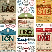 A set of various simple luggage tag icons from a wide variety of airports. Isolated on white. Download includes an AI10 EPS file as well as a high resolution RGB JPEG. The grunge tags don't contain any transparencies however the text and stamps have a Multiply opacity so you can see the grunge texture of the tag underneath.