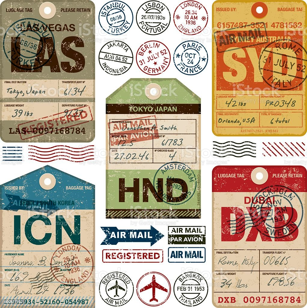 Old Fashioned Airport Luggage Tags Icon Set vector art illustration
