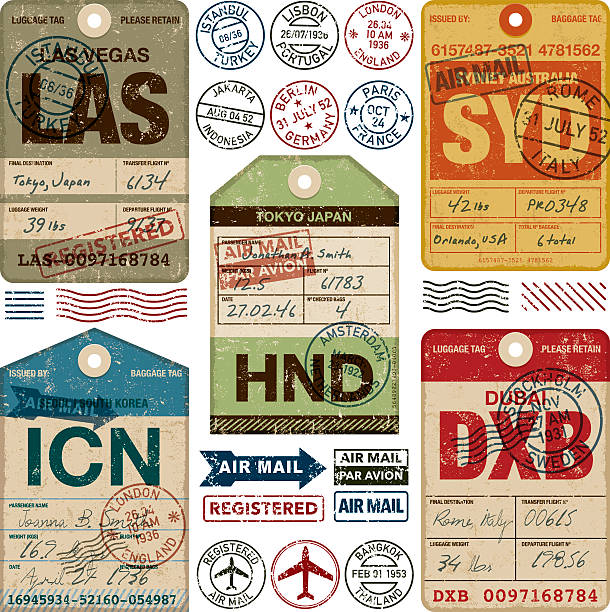 Old Fashioned Airport Luggage Tags Icon Set A set of various simple luggage tag icons from a wide variety of airports. Isolated on white. Download includes an AI10 EPS file as well as a high resolution RGB JPEG. The grunge tags don't contain any transparencies however the text and stamps have a Multiply opacity so you can see the grunge texture of the tag underneath.  airport clipart stock illustrations