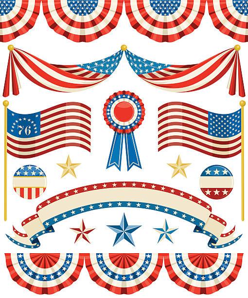 Americano à moda antiga Bunting - ilustração de arte em vetor