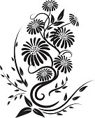 Old Fashioned Black Calligraphic Floral Element