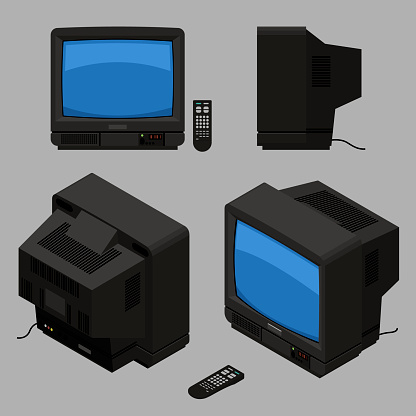Old fashioned black TV with remote control