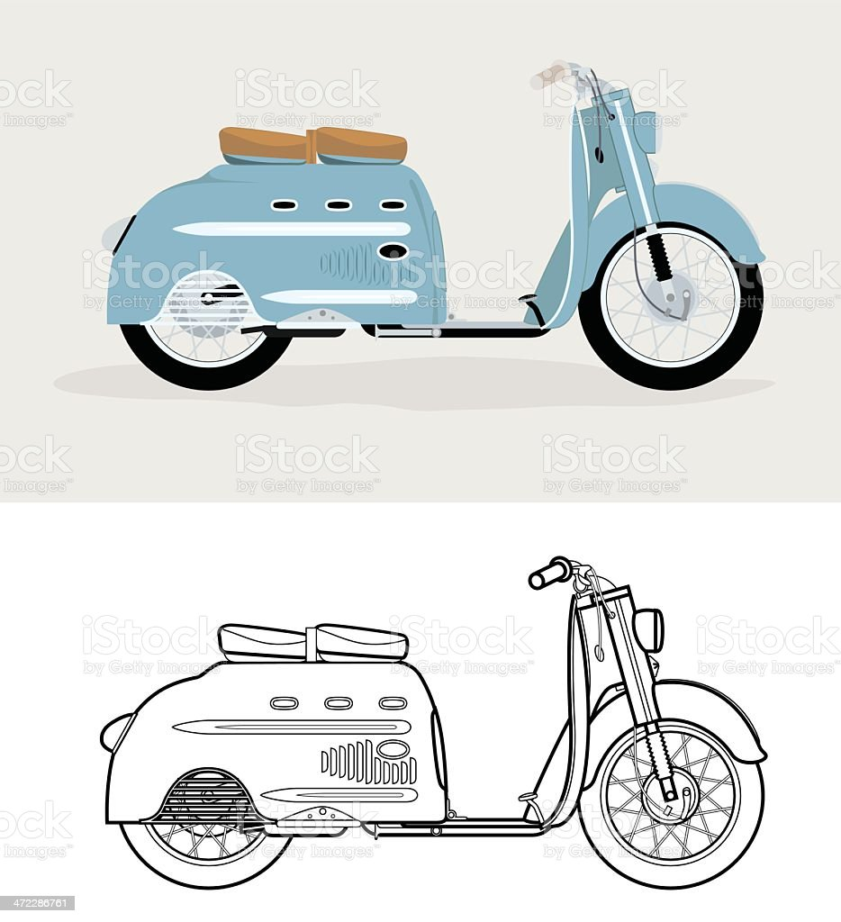 Old fashioned blue scooter. vector art illustration
