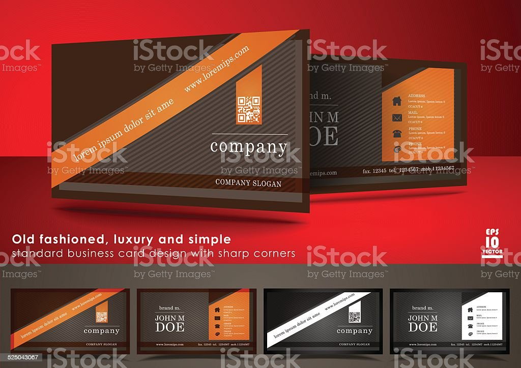 Old Fashioned Business Card Design With Sharp Corners stock vector ...