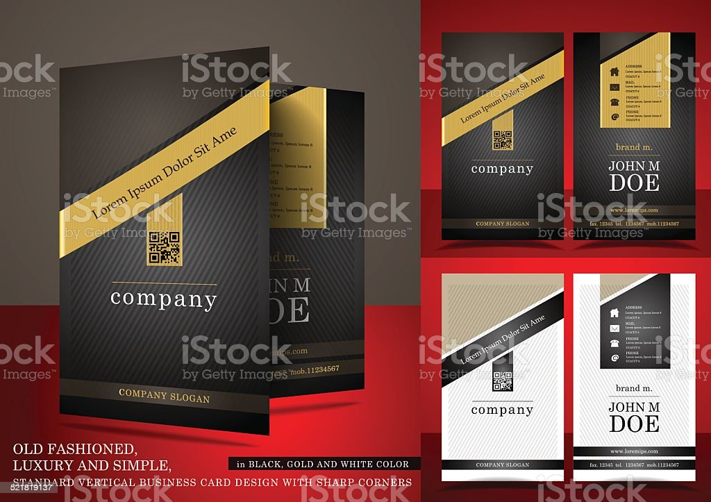 Old Fashioned Business Card In Black And Gold Color stock vector ...
