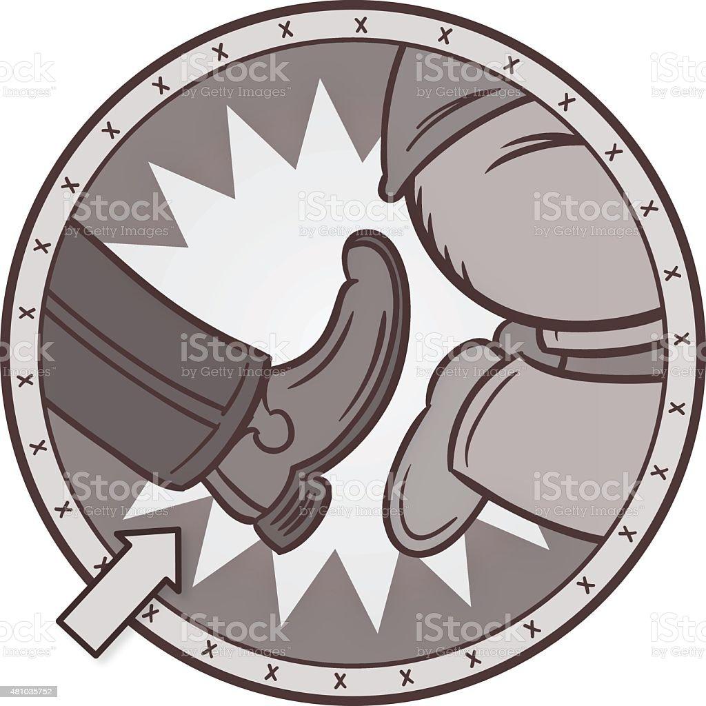 Old Fashioned Butt Kicking vector art illustration