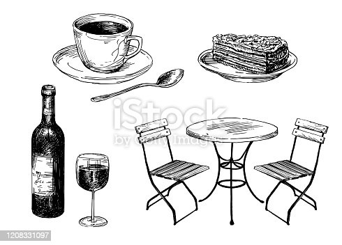 Old fashioned cafe furniture, coffee and cake.