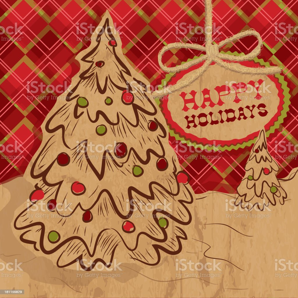 Old Fashioned Christmas Tree Paper Greeting Design Stock Vector Art ...