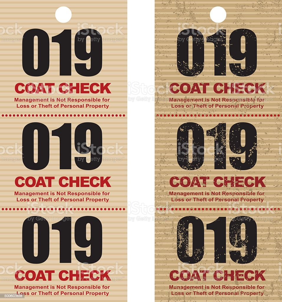 old fashioned coat check ticket stub icon stock vector art more