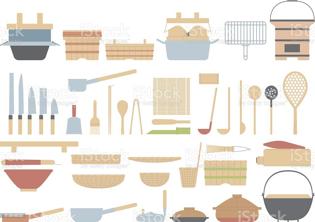 Old fashioned cooking utensils of the Japanese. Traditional culture of Japan. vector art illustration