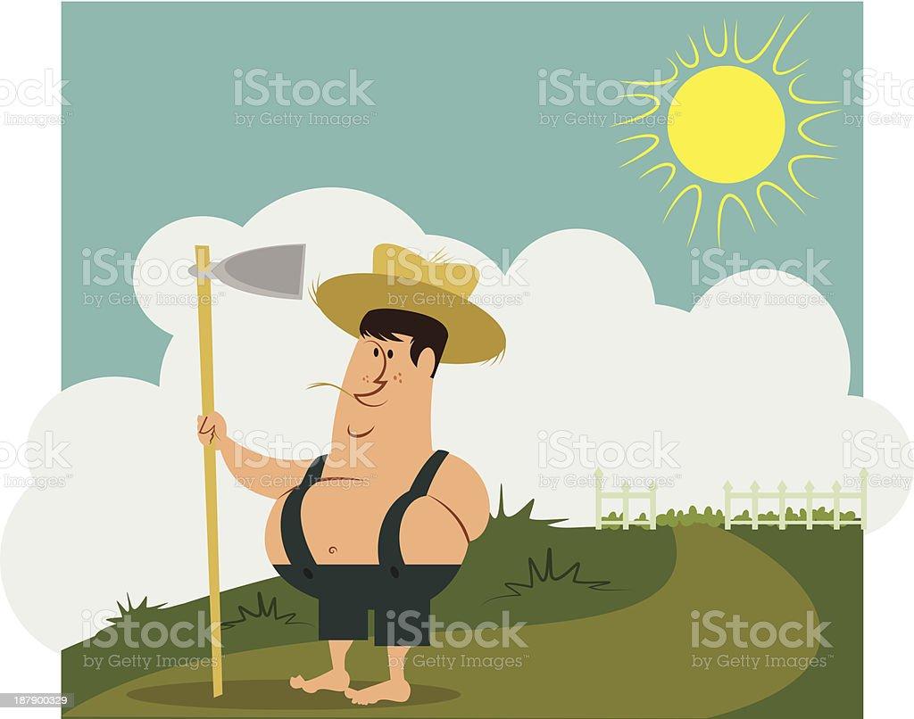 old fashioned farmer boy vector art illustration