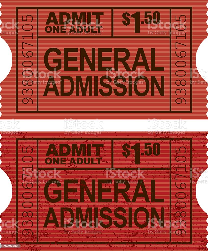 Old Fashioned General Admission Ticket Stub Icon vector art illustration