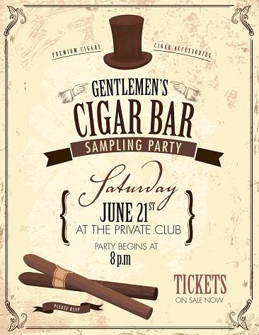 Old fashioned Gentlemen's cigar party invitation design