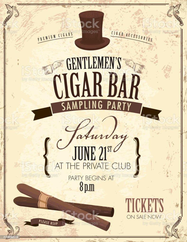 Old fashioned Gentlemen's cigar party invitation design vector art illustration