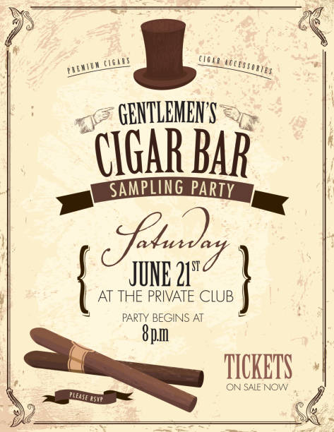 stockillustraties, clipart, cartoons en iconen met old fashioned gentlemen's cigar party invitation design - guy with cigar