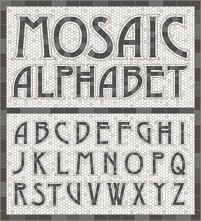 An old art-deco inspired typeface done in an aged mosaic tile style in warm gray colors. Colors are global swatches so they're easy to change.