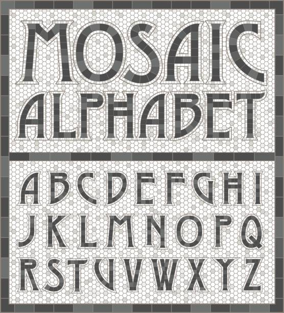 Old Fashioned Gray Mosaic Tile Alphabet Letters An old art-deco inspired typeface done in an aged mosaic tile style in warm gray colors. Colors are global swatches so they're easy to change. alphabet borders stock illustrations