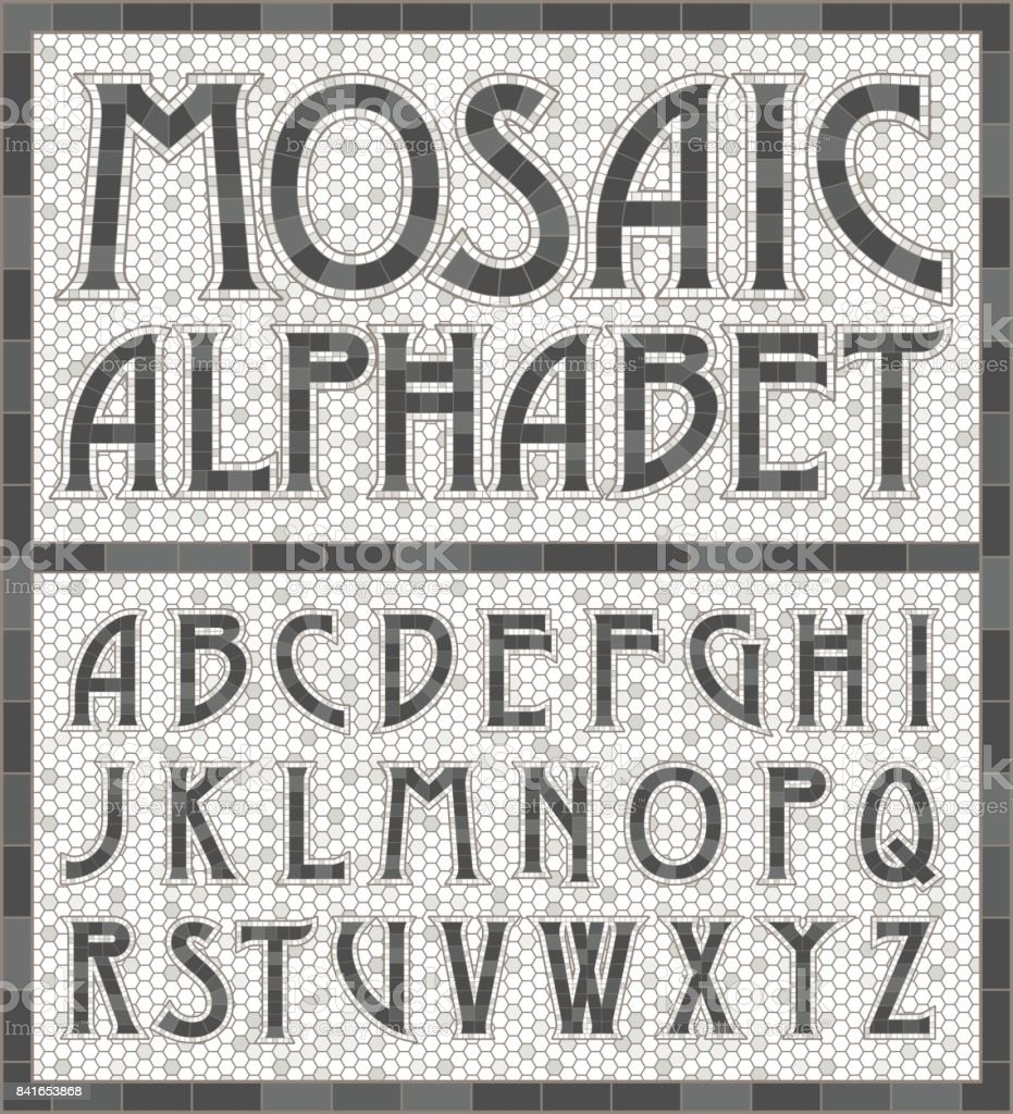 Old Fashioned Gray Mosaic Tile Alphabet Letters vector art illustration