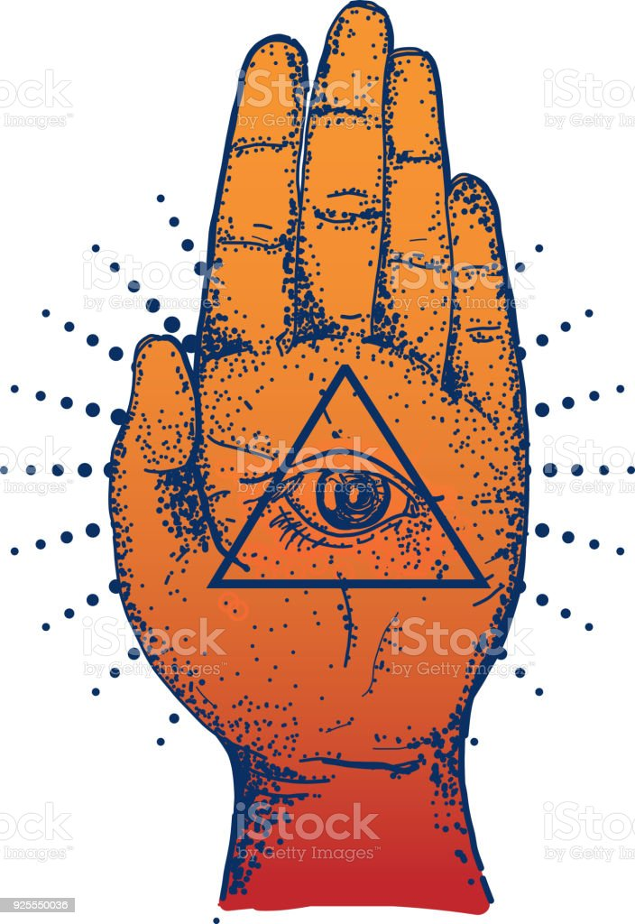 Old Fashioned Hamsa Symbol Palm Hand With Eye Stock Vector Art