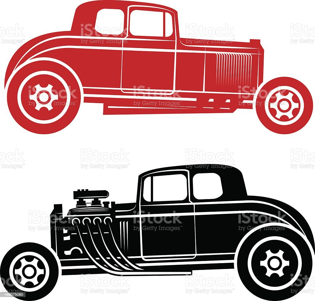 Old Fashioned Hot Rods In A Flat Vector Illustration Stock Vector ...