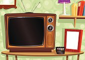Retro-feel living room scene, complete with wooden cased TV, blank picture frame, remote control, books and lamp. Plenty of copy space for your messages or images.