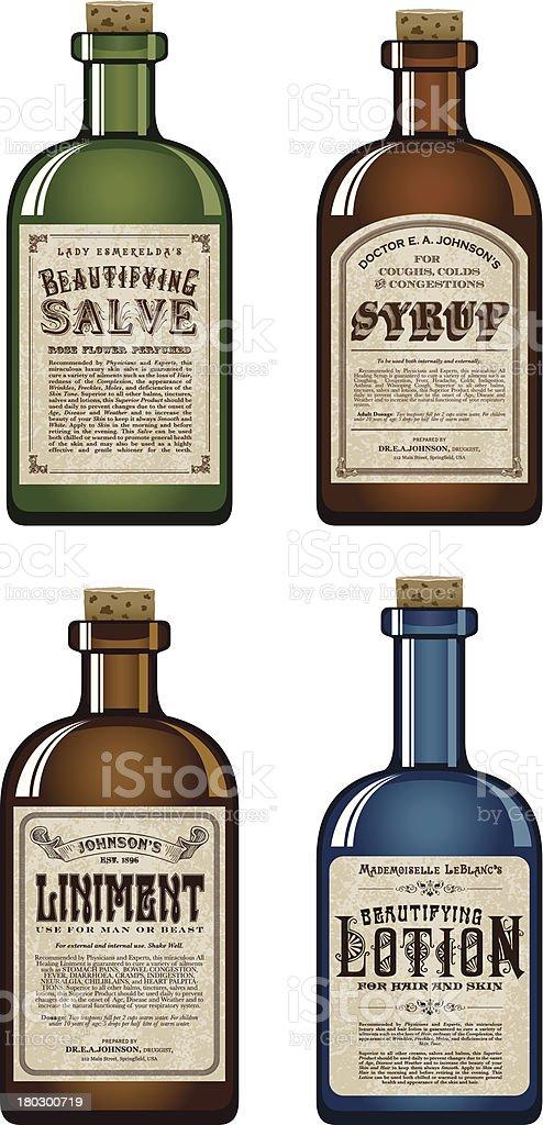 Fantastic Old Fashioned Medicine Bottles Stock Vector Art & More Images of  LP39