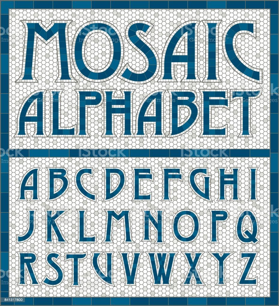 Old Fashioned Mosaic Tile Alphabet Letters Stock Vector