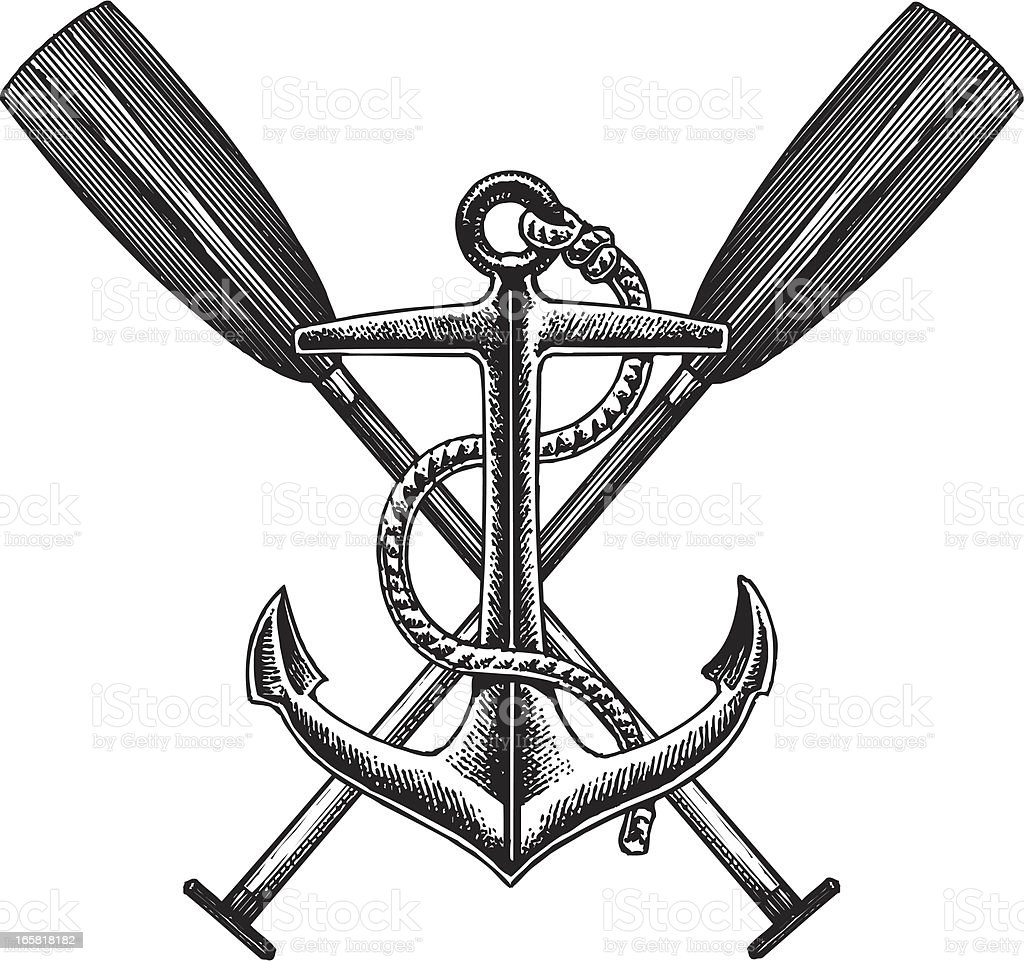 Old fashioned nautical anchor and oar illustration vector art illustration