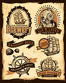 Vector illustration of a set of Nautical themed beer labels. Features sample text design and elements such as old fashioned ship, shells, antique diving helmet, ship wheel and ropes. Completed with a textured scroll paper background. Sample text reads 'Old Fashioned Brewery', Ale & lager Under the Sea, Draught Beer, A Ship of Good Cheer, Anchor's Away and Rum Runner Schooner. Download includes Illustrator 8 eps, high resolution jpg and png file. See my portfolio for similar concepts and beer labels.