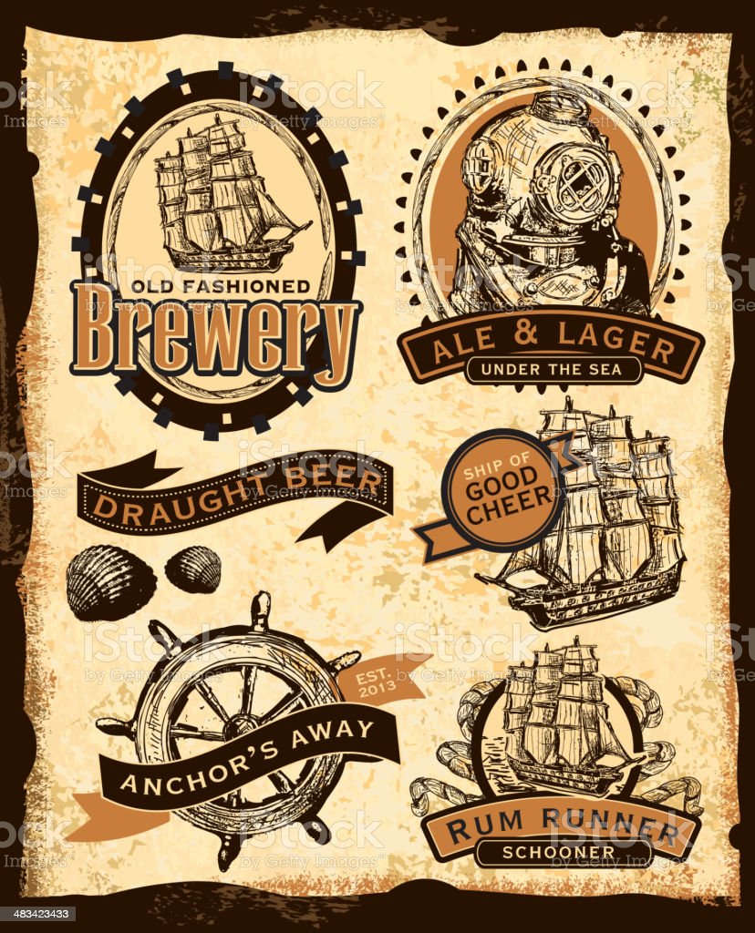 Old fashioned nautical themed beer labels vector art illustration