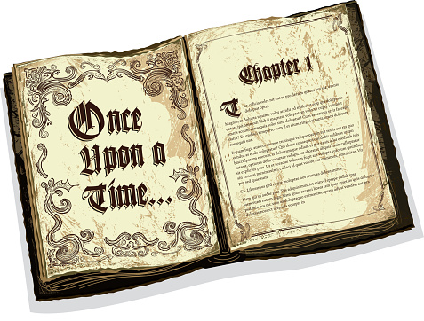 Old fashioned open fairytale storybook with text design