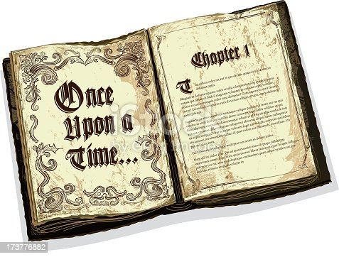 istock Old fashioned open fairytale storybook with text design 173776882
