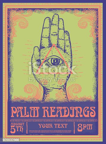 Old fashioned Palm Readings Poster design template, with hand and eye