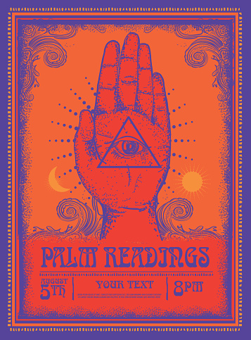 Old fashioned Palm Readings Poster design template