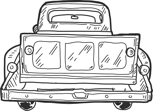 Vector illustration of an Old fashioned pick up truck tailgate with watercolor texture.