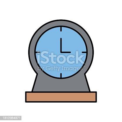 istock Old Fashioned Plastic Clock Living Space decorative elements vector icon design 1312354371
