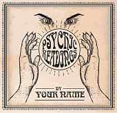 Old fashioned Psychic Readings poster design template. Drawing of hand, eyes, and crystal ball. Placement text design.