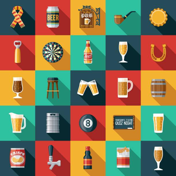bildbanksillustrationer, clip art samt tecknat material och ikoner med gammaldags pub ikonuppsättning - pub